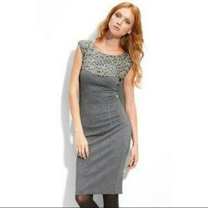Ted Baker Grey Wool Blend Sheath Dress